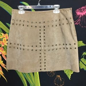 BB Dakota Skirts - BB DAKOTA/ Vintage 100% Leather Rivet Mini Skirt